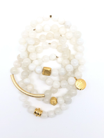 White Moonstone Faceted Bracelet 8mm