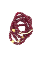 Cranberry Faceted Rondelle Bracelet 8mm