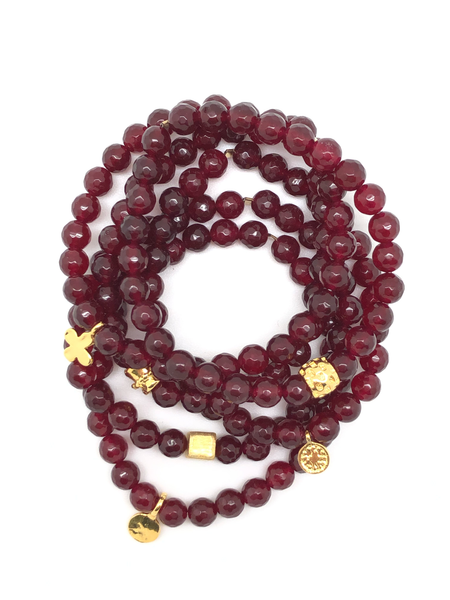 Cranberry Faceted Bracelet 6mm