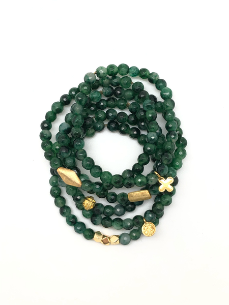Green Fire Agate Faceted Bracelet 6mm