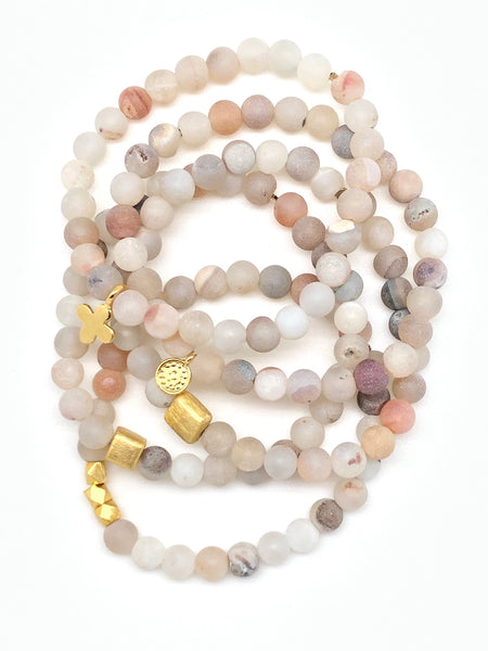 Beachy Matte Agate with Druzy Bracelet 6mm