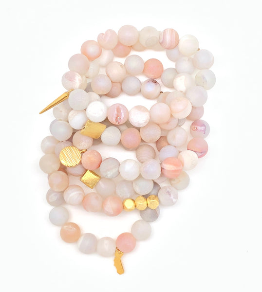 Beachy Matte Agate with Druzy Bracelet 10mm