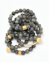 Grey Faceted Labrodorite Bracelet 10mm