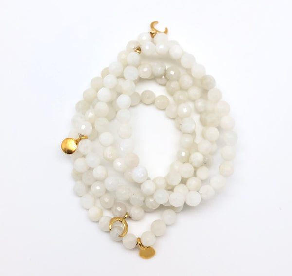 Cream Moonstone Faceted Bracelet 6mm