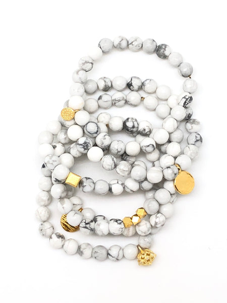 White & Grey Faceted Howlite Bracelet 6mm