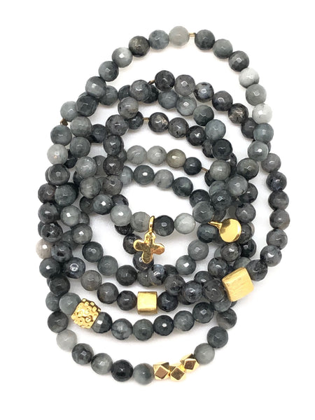 Grey and Black Faceted Labrodorite Beaded Bracelet 6mm