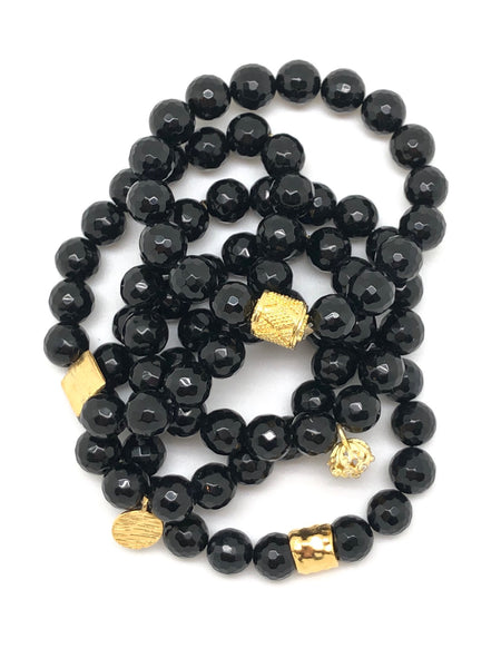Black Onyx Faceted Bracelet 10mm