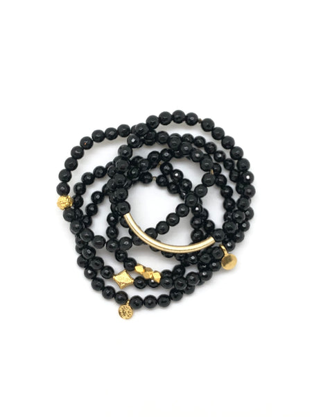 Black Onyx Faceted Bracelet 6mm