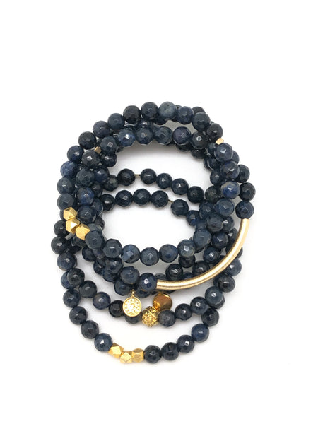 Navy Blue Faceted Bracelet 6mm