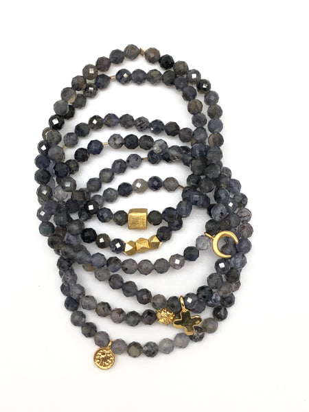 Iolite Faceted Bracelet  5mm