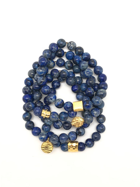 Blue & Grey Lapis Bracelet 8mm