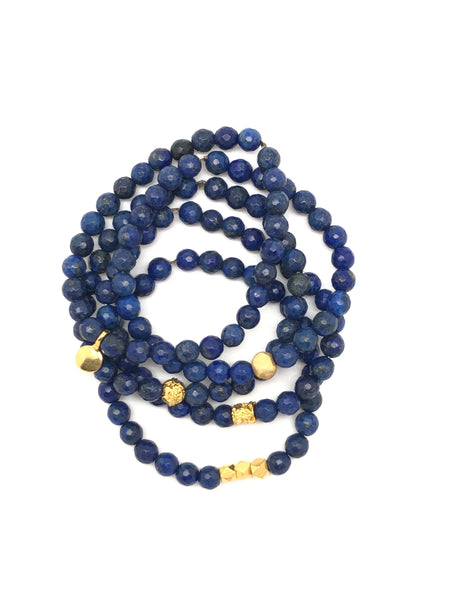 Blue Lapis Faceted Bracelet 6mm