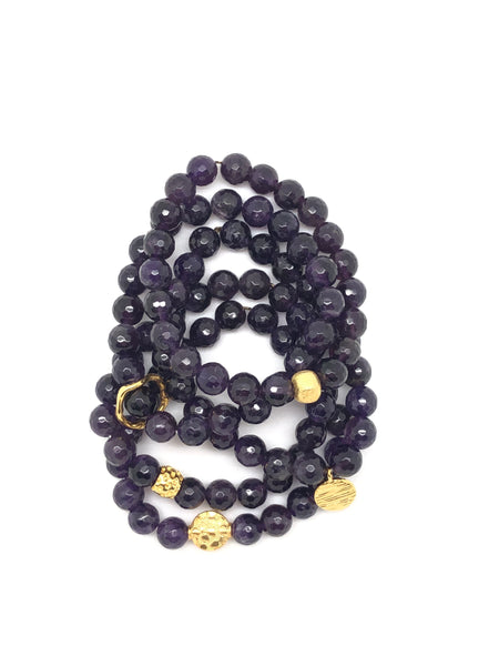 Dark Periwinkle Faceted Bracelet 8mm
