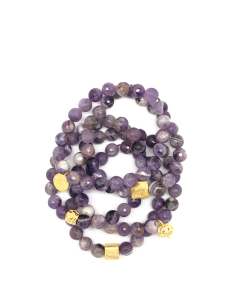 Soft Purple Amethyst Faceted Bracelet 8mm