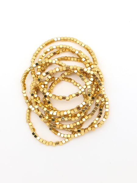 Stackable Gold Stretch Bracelets (Set of 5)