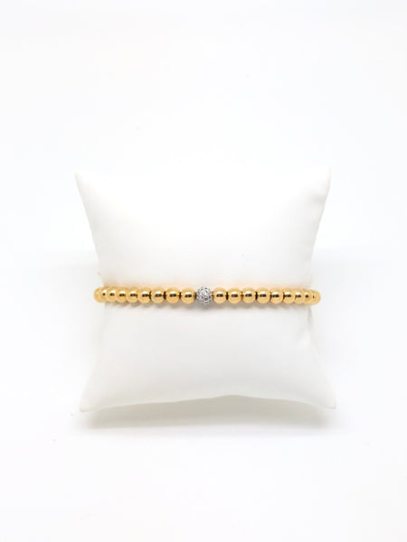 5MM Gold Filled Beaded Bracelet with Pave Diamond Charm