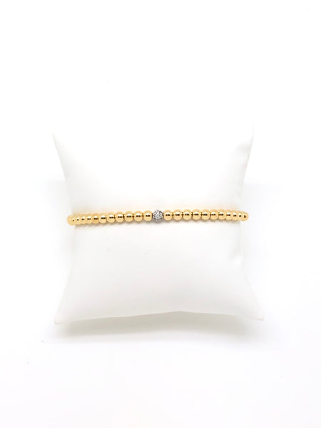 4MM Gold Filled Beaded Bracelet with Pave Charm
