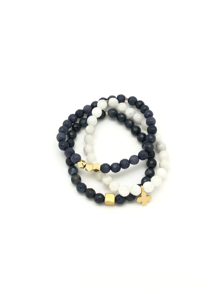 Navy Blue & Moonstone - Stack of 3