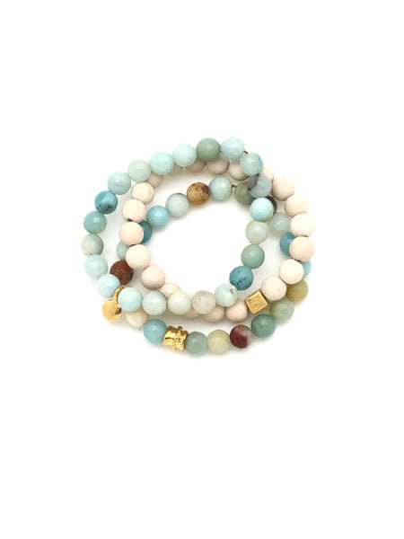 Light Blue Agate & wood 8mm beaded bracelets