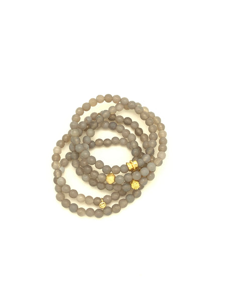 Light Grey Faceted 6mm