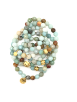 Beachy Light Blue Agate Faceted Bracelet 8mm