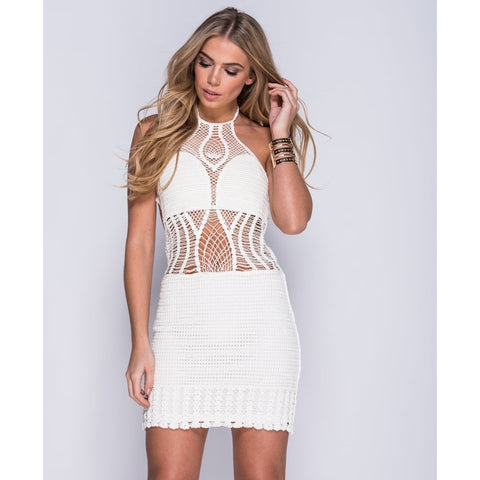 White Crochet Halter Neck Mini Dress - LUNAP Co