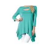 Women's Sexy Peep Front Long Sleeve Blouse Made in USA - LUNAP Co