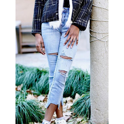 High Waist Distressed Cropped Jeans - LUNAP Co