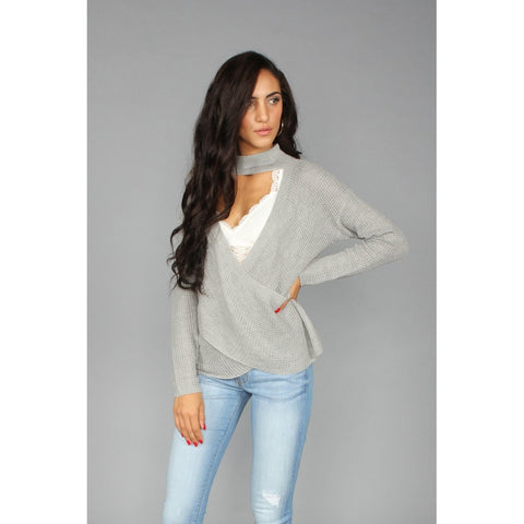 Surplice Choker Sweater - LUNAP Co