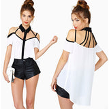 Women's Hollow Out Chiffon White Casual Turn-down Collar Blouse - LUNAP Co