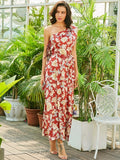 Women's Red One Shoulder Floral Vacation Maxi Dress - LUNAP Co
