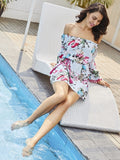 Women's Slash Neck Flower Print Bodycon Dress - LUNAP Co