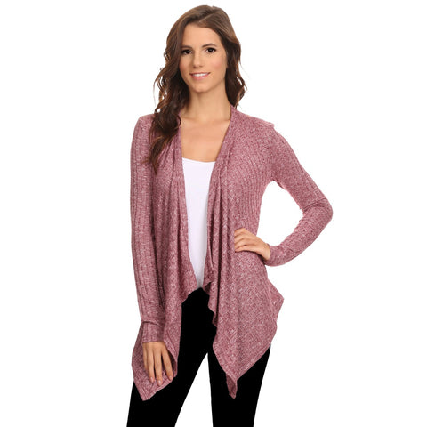 Women's Ribbed Cardigan Short Draped Open Front Small to 3XL Athleisure Made in USA - LUNAP Co