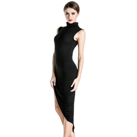 Black High Neck Slit Dress - LUNAP Co