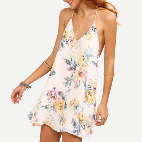 Backless Sleeveless White Flower Print Strappy Swing Cami Summer Mini Dress - LUNAP Co