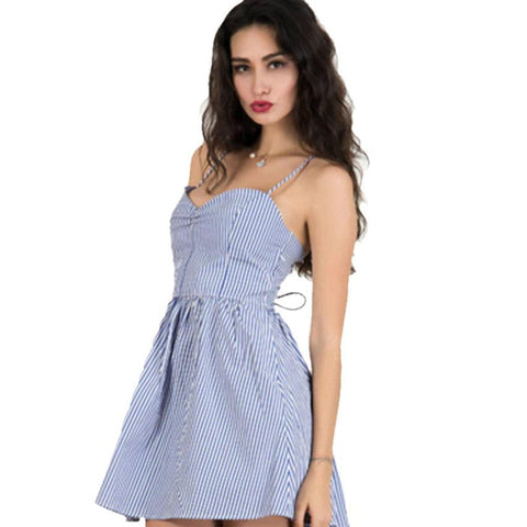 Blue V-Neck Spaghetti Strap Bandage Sleeveless Stripe Women's Summer Mini Dress - LUNAP Co