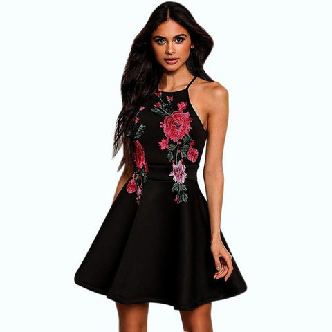 Backless Padded Floral Printed Casual Sleeveless Party Evening Short Dress - LUNAP Co