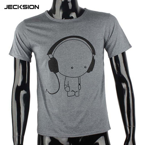 Fashion Men Boy High Quality Tees Short Sleeve O-Neck Earphone T Shirt - LUNAP Co
