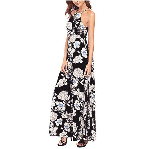 Summer Dress Women Long Maxi Evening Party Dress Backless Beach Dresses Flower Print Halter Sundress - LUNAP Co