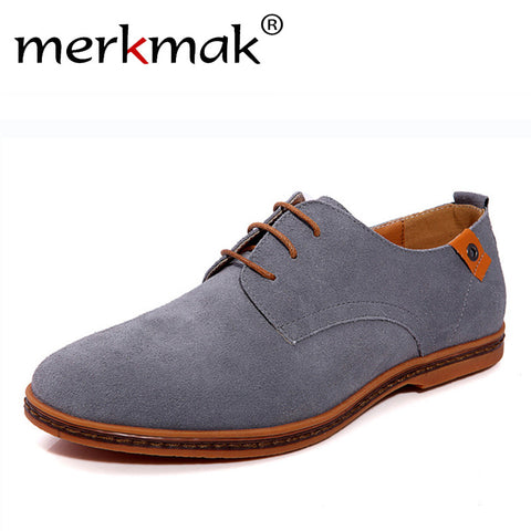 Men's Suede Leather Casual Flat Shoes Lace-up Rubber Outsole Shoes