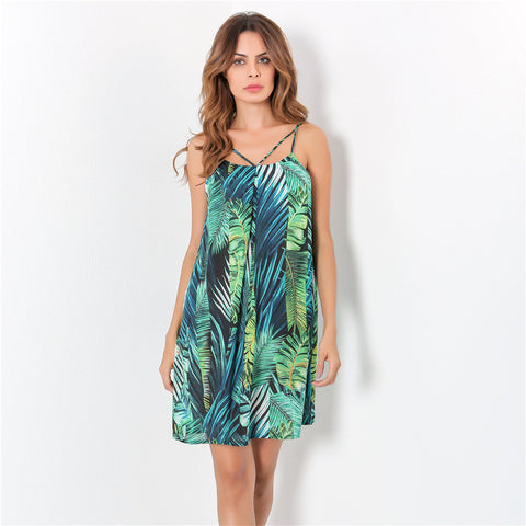 Fresh and Natural Printed Halter Loose Sleeveless Autumn Dress - LUNAP Co