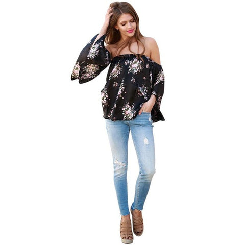 Elegant Women's Off Shoulder Flower Print Three Quarter Sleeve Loose Casual Lady Blouse - LUNAP Co