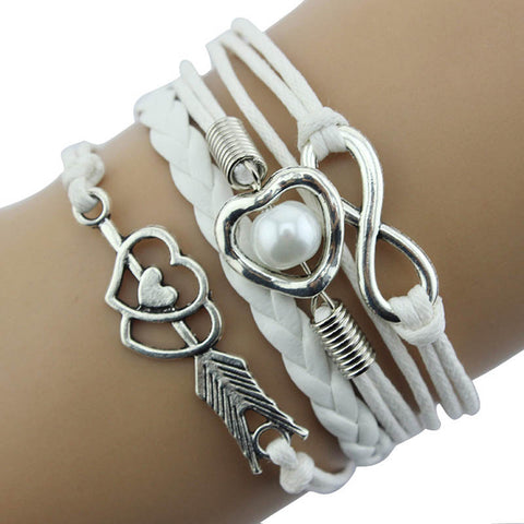 1PC Infinity Love Heart Pearl Friendship Antique Leather Charm Bracelet - LUNAP Co