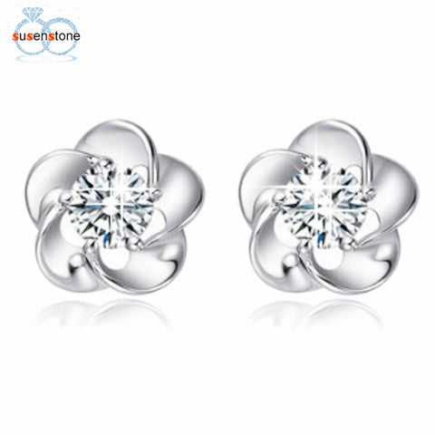 Silver Plated Rose Flower Shaped Crystal Stud Earrings - LUNAP Co