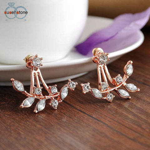 Fashion Leaf Crystal Ear Women's Stud Earrings - LUNAP Co