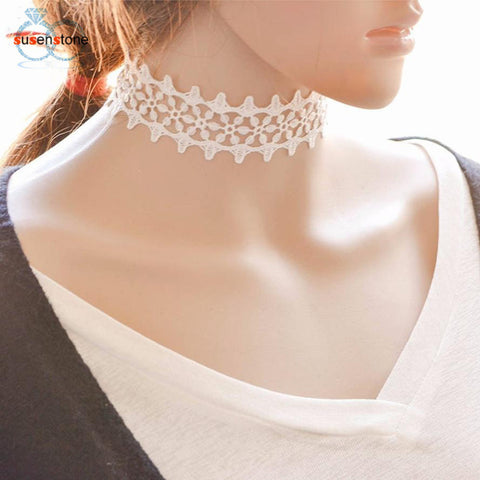 Simple Vintage White Lace Clavicle Necklace Choker Collar - LUNAP Co