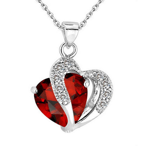Heart-Shaped Zircon Crystal Necklace Chain Heart Rhinestone Silver Pendant Jewelry - LUNAP Co