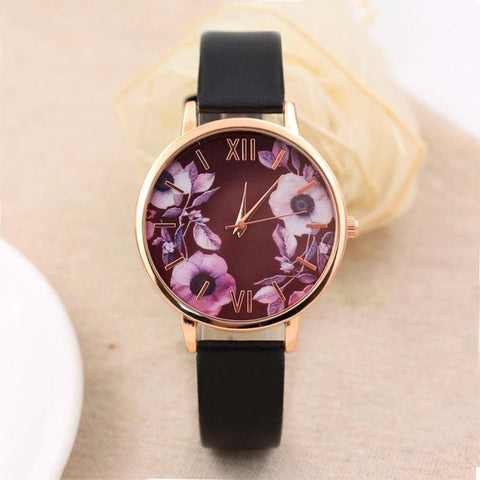 Elegant Women's Leather Wrist watch Floral Quartz Watch - LUNAP Co