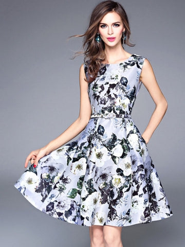 Women's Gray Floral Printed Skater Dress - LUNAP Co
