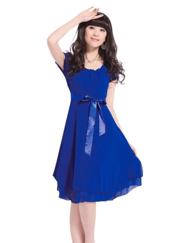 Chiffon Block Color Short Sleeve Day Dress - LUNAP Co
